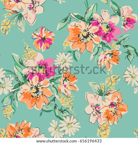 pretty daisy floral print seamless background stock vector