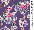 sketched flower print in purple ...