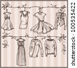 sketched ladies wardrobe - stock vector