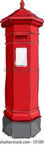 Sketched line drawing of a red British antique post or mail box. Vector Version.