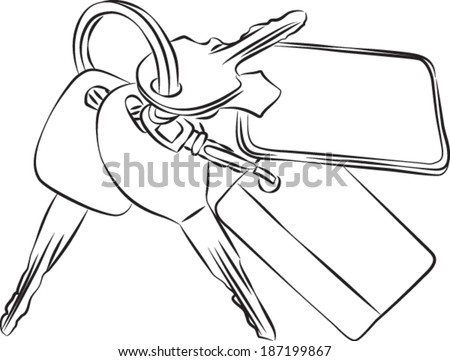 Sketched line drawing of a set of keys on a keyring or key chain. Vector Version.