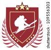 Skier vector emblem - stock vector