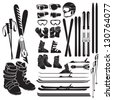 Skiing gear set - assortment of skiing eqiupment silhouette icons - stock