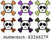Skull and Crossbones collection - Set of skull and crossbones, with bones decorated in dotted and gingham patterns in orange, green and purple - stock vector