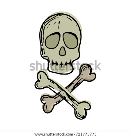 simple cartoon skull crossbones isolated on stock