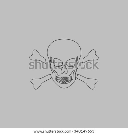 Skull and crossbones. Outlne vector icon on grey background