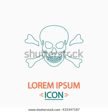 Skull Flat thin line icon on white background. Vector pictogram