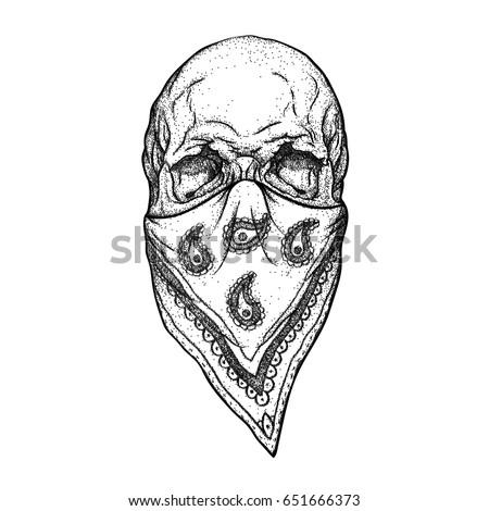 skull bandana on face typography text stock vector 658252897 shutterstock. Black Bedroom Furniture Sets. Home Design Ideas