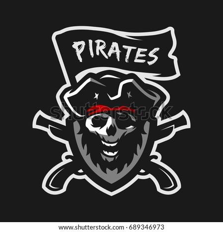 Pirates Logo Skull Vector Illustration Pi...