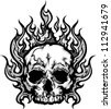 Skull on Fire with Flames Vector Illustration - stock vector