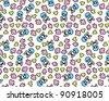 Skull pattern background - stock vector