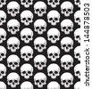 Skull pattern. Black and white EPS8 vector seamless. - stock vector