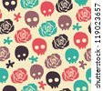 skull rose seamless pattern - stock vector