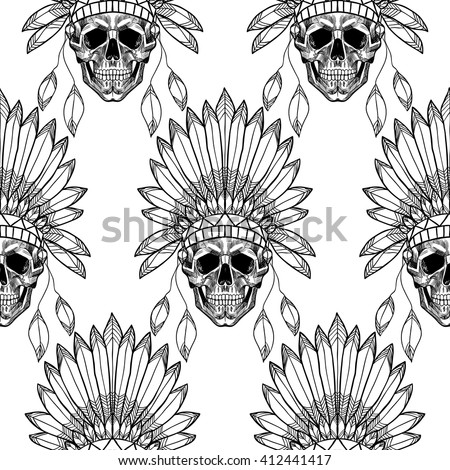 Skull native american indian warrior black stock vector for Indian hat template