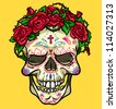 Skull with roses, Day of the Dead, sugar skull - stock vector