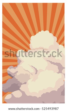 sky sunset clouds shining light retro background