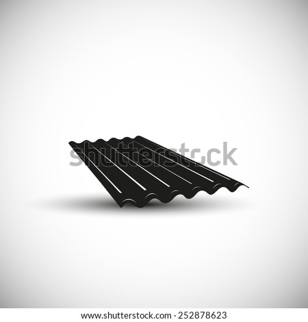 Slate wave roof illustration - 3d view design.