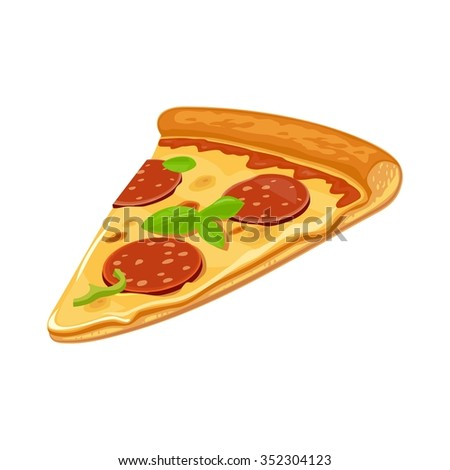 Slice of pizza pepperoni. Isolated vector flat illustration for poster, menus, logotype, brochure, web and icon. White background.