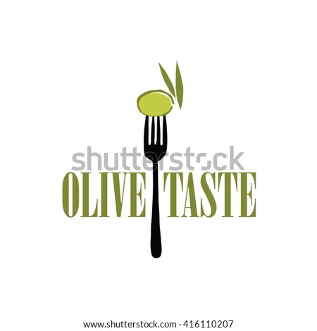 slick green olive on a black cool fork illustration in vector formant isolated over white background