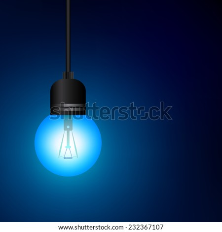 Small blue bulb on light blue background. A vector illustration.