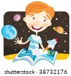 Small boy with story book. Small astronaut – space story begin! Vector Illustration. - stock photo