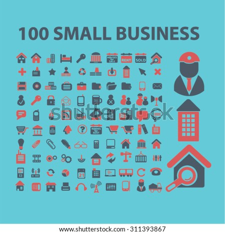 small business, office suppliers, real estate concept icons, signs set, vector