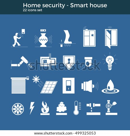 smart home automation vector icons set stock vector 499314112 shutterstock. Black Bedroom Furniture Sets. Home Design Ideas