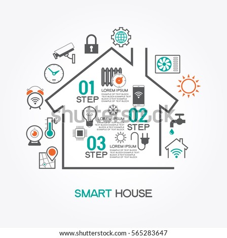 Smart Home Control Concept Smart House Stock Vector 565296079