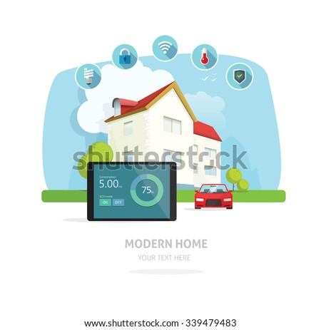 Smart Home Flat Design Style Vector Stock Vector 296608010