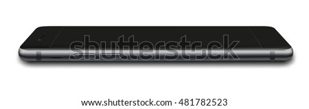 Smart phone in iphon 7 style with black screen isolated on white background. Vector illustration. EPS10