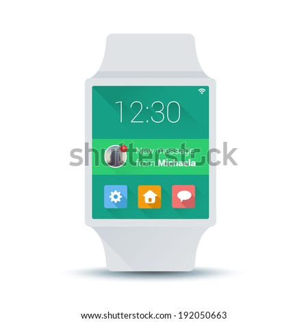 Smart watches device display message from a friend. Smart watches on isolated white background display current time and application icons.