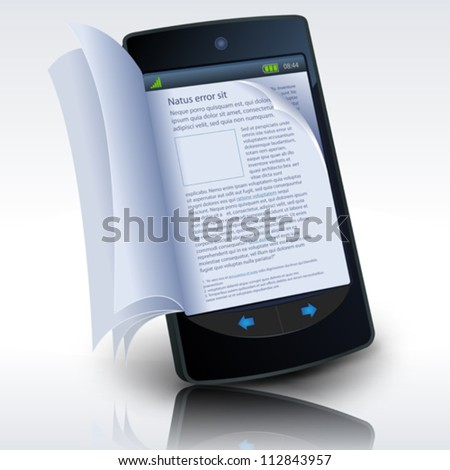 of a smartphone e-book with realistic pages flipping effect