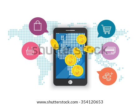 smartphone online shopping marketing conceptual illusration vector