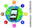 Smartphone with currency symbols orbiting the earth. - stock