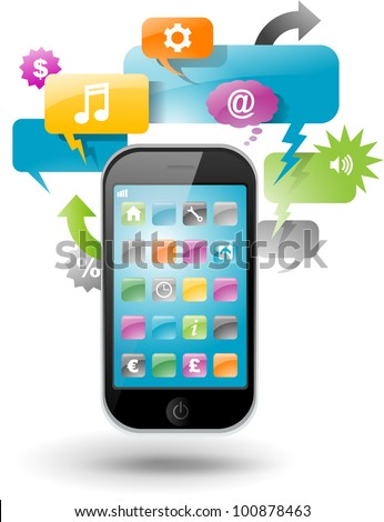 Smartphone with speech bubble and application icons
