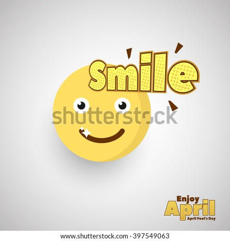Smile Emoticon for April Fool Day. Vector Illustration. Eps.10