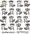 Smiley racoons individually grouped for easy copy-n-paste. Vector. - stock vector