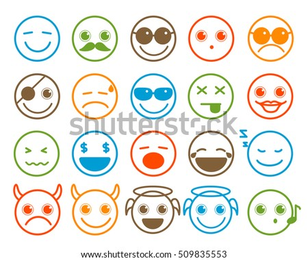 Smileys emoticon vector icons set in flat line circle button with colorful facial expression in white background. Vector illustration.