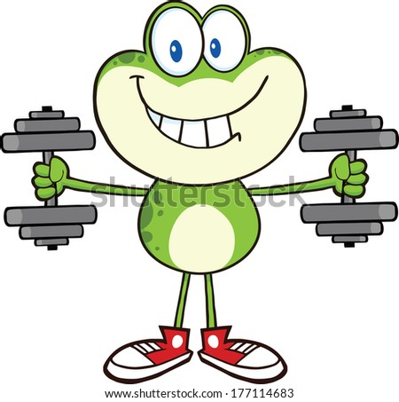 Smiling Green Frog Cartoon Mascot Character Training With Dumbbells. Vector Illustration Isolated on white