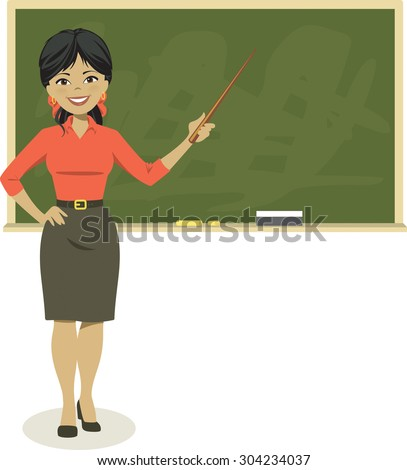 Smiling teacher standing in front of blackboard with pointer. Vector illustration