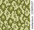 Snake or reptile skin in shades of green seamless pattern, vector - stock vector