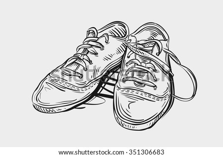 Sneakers. Hand drawn sketch shoes vector illustration