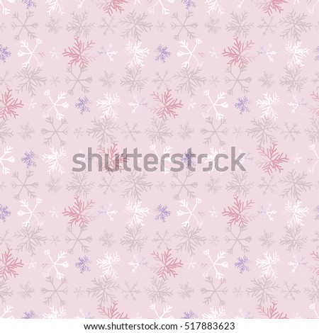 Snow flakes seamless pattern. Vector background