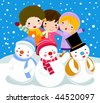 snowman and children,wintertime - stock photo