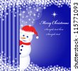 Snowman peeping behind a curtain, snowflakes and stars on a deep blue xmas background. Copy space for text. Raster version also available. - stock photo