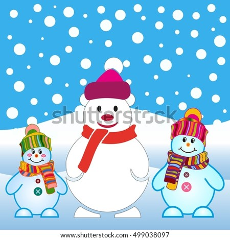 Snowman, vector illustration. Flat design style. Christmas card.