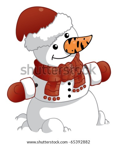 snowman with red christmas hat and mittens