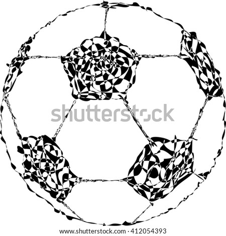 Soccer ball in abstract black and white smooth line style. eps 10