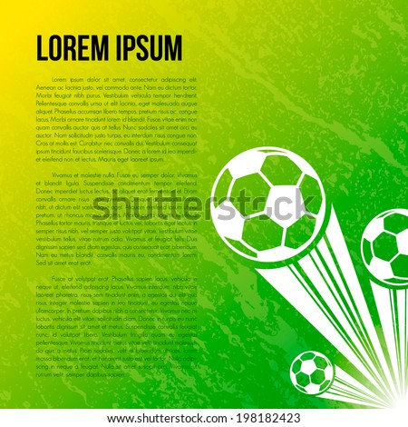 soccer ball on green background, Vector graphic