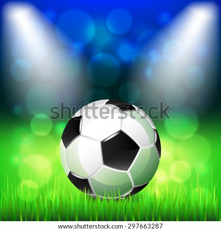 Soccer ball on stadium photo realistic vector background